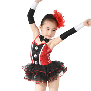 MiDee Dance Costume Black & Red Style Classical Ballet Tutu Dance Costumes Latin Dancer Dress Up