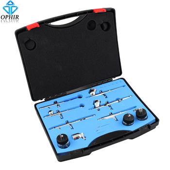 цена на OPHIR 6pcs Dual Action Airbrush Set Kits with 0.2mm,0.3mm,0.35mm,0.5mm Tips Spray Gun for Model Painting Body Paint_AC048