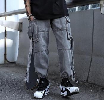 2019 new trendy men's loose jeans hip-hop straight trend beam foot harem pants Korean version of hip-hop wind tooling wide-leg p
