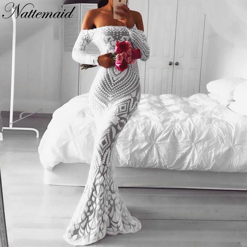 45f09ca44a1 NATTEMAID с открытыми плечами Черное макси белое платье 2019 Сетчатое  облегающее платье с пайетками женское без