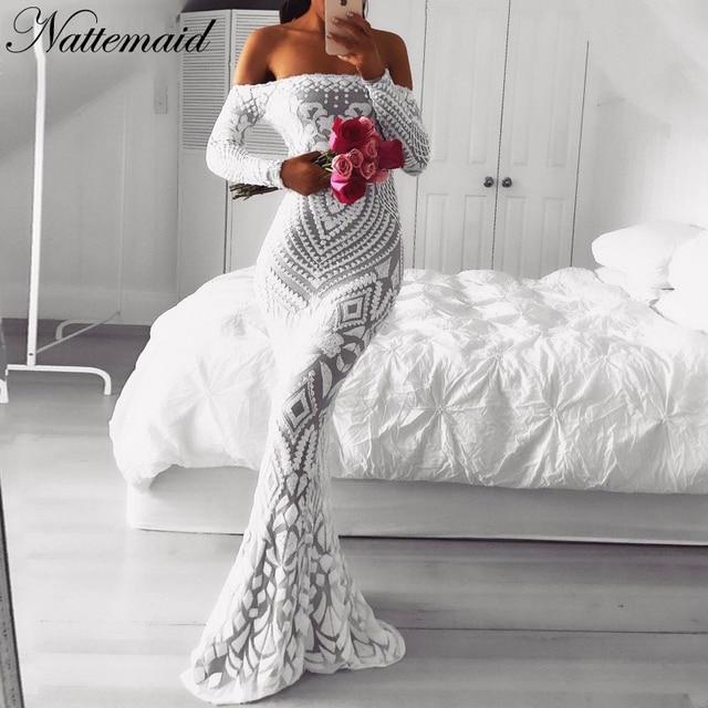 NATTEMAID Fora Do Ombro Maxi Preto Vestido Branco 2019 Malha Bodycon Mulheres De Vestido De Lantejoulas Partido Strapless Sexy Vestidos Vestido de Inverno