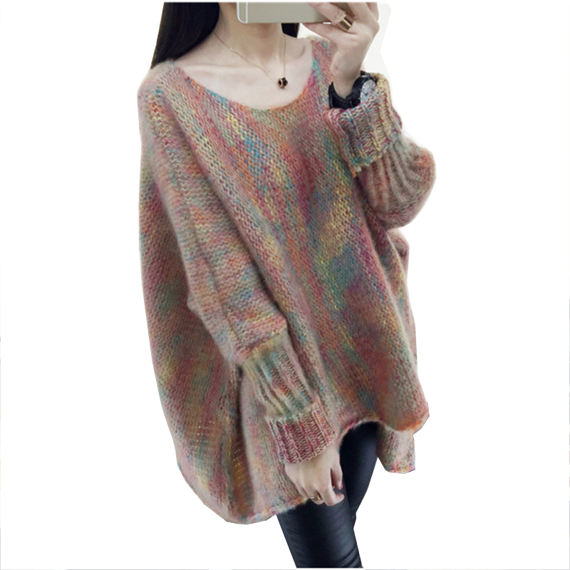 2018 Autumn Winter Women multicolor Batwing Sleeve cloak loose fashion long large size pullover knitted sweater coat Women LF968