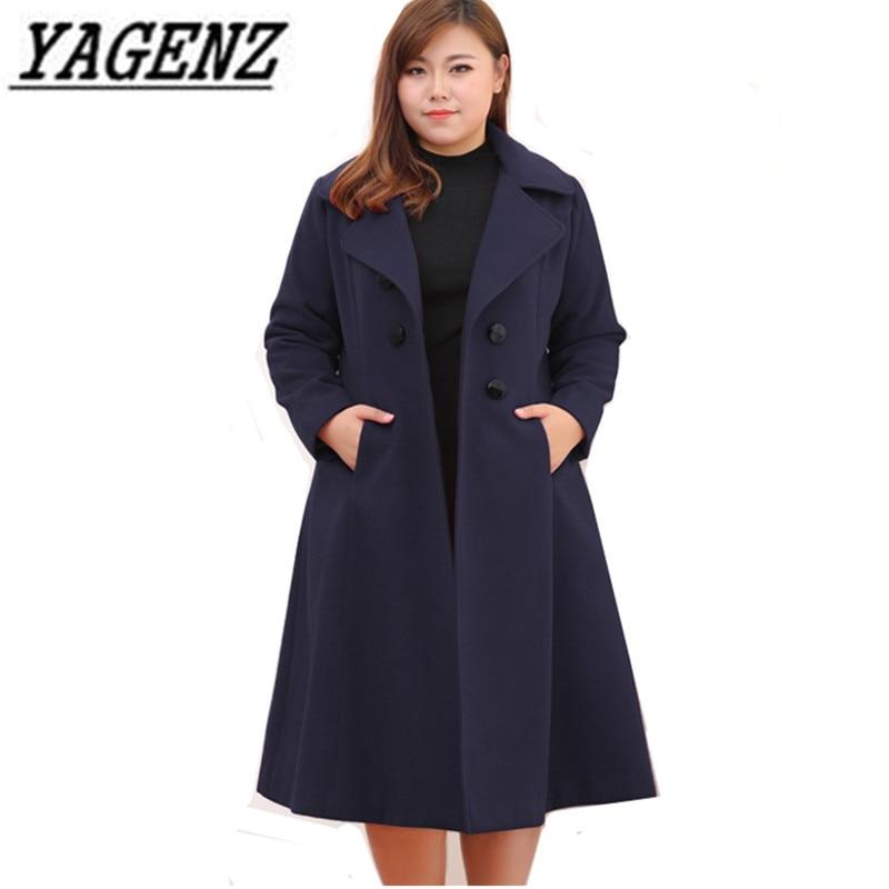 Cappotti di lana Giacca A Vento 2018 Coreano delle Donne di Inverno di grandi dimensioni Solido Sottile Lungo Cappotto Giacca Calda Lana Cappotto Femminile 8XL 9XL 10XL