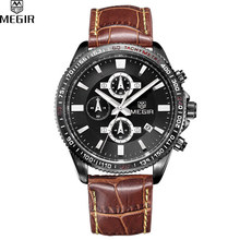 MEGIR Men Chronograph Multifunction Sport Watch Analog Digital Luxury Genuine Leather Band Fashion Men Watches Relogio