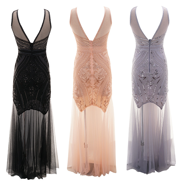 Image 2 - Women 1920s Great Gatsby 20s Flapper MAXI Dress Vintage V Neck Mesh wedding dress party prom CHARLESTON COSTUME-in Movie & TV costumes from Novelty & Special Use