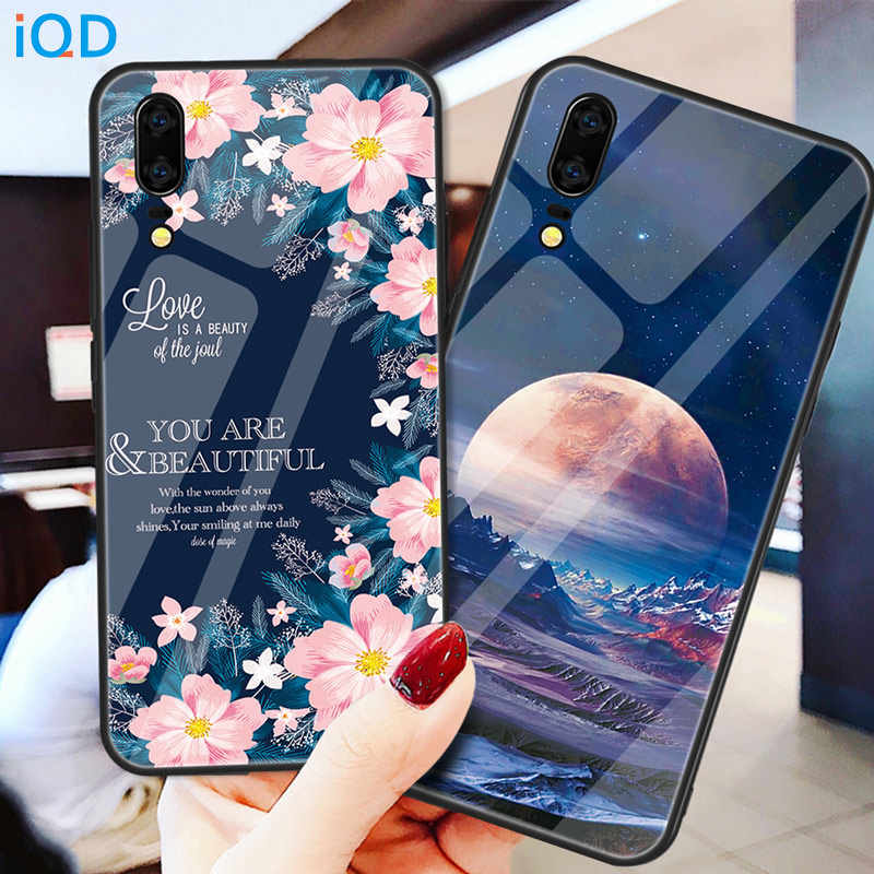 IQD Tempered glass Shell TPU Case For Huawei Mate P20 P30 Pro Mate 20 10 Lite Mate 20 Pro Phone Hard Back Case Protective Cover