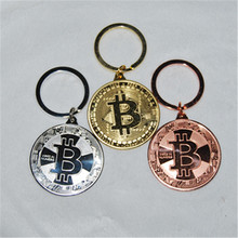 2018 Hottest items, mix3pcs,Gold Plated Bitcoin Coin Key Chain BTC