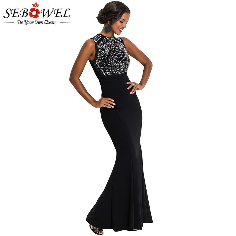 dff1e48dca0 SEBOWEL пикантные черные сапоги со стразами Bodycon макси Вечерние Платье  Для женщин элегантные без рукавов вечернее платье длиной русалка платье.