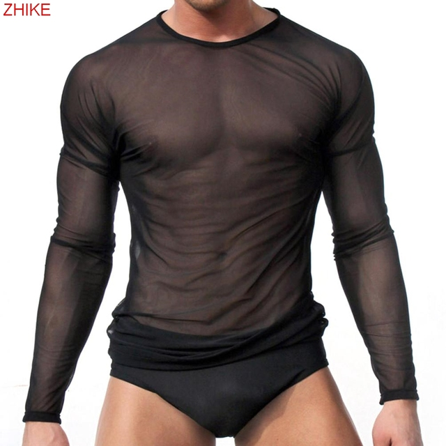 0762770ae5b0d HOT Sexy Mens Transparent Sheer See Through Mesh Long Sleeve T shirt Tops  Undershirt Fitness Casual