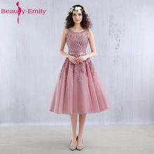 ความงามเอมิลี่สีชมพูเข้มลูกปัดลูกไม้ A Ppliques elegent ชุดเพื่อนเจ้าสาวแขนสั้น 2018 ใหม่สำหรับสาวแต่งงานชุดเพื่อนเจ้าสาว