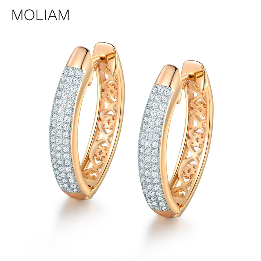 MOLIAM New Design Oorringen voor Dames Wit Helder Zirkonia Steen Earing Mode-sieraden Direct Selling MLAE035