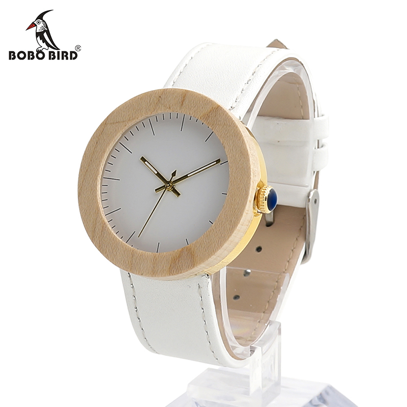 BOBO BIRD V-J28 Women's Maple Wooden Wristwatch Simple White Dial Golden Stainless Steel Back Case Ladies Watch orologio donna