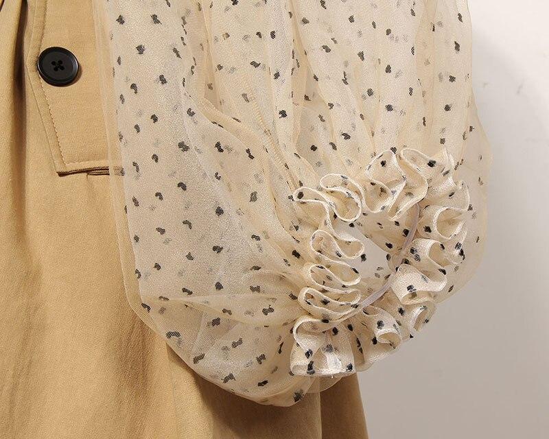 [EAM] 19 New Spring Lapel Long Puff Sleeve Sashes Dot Mesh Stitching Loose Long Windbreaker Women Coat Fashion JH394 8