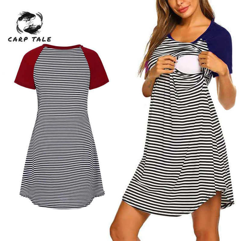Breastfeeding Mama Stripe Clothes Nursing Dress Maternity Dresses Pregnant Women's Summer Cotton O-neck Womens Clothing