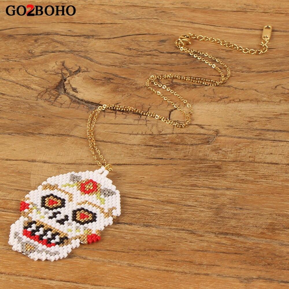 Go2boho Dropshipping Mexikanischen Frida Kahlo Halskette Candy Zucker Schädel Halsketten MIYUKI Samen Perlen Gold Kette Schmuck Halsband Geschenke