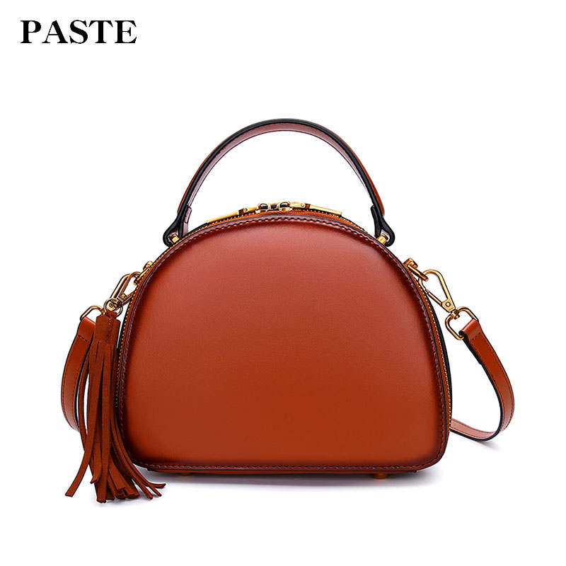 Paste Women Handbags Vintage Crossbody Messenger Bag New Leather Shoulder Bags Round 2018 Brand Lady Solid Small Tassel p3055 micocah brand new arrival women messenger pu leather bag design with tassel solid color brand bag withe zipper bags gl30015