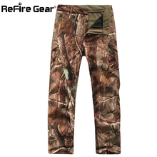 ReFire Gear Winter Shark Skin Soft Shell Tactical Military Camouflage Pants Men Windproof Waterproof Warm Camo Army Fleece Pants(China)