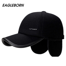 EAGLEBORN Brand New 2019 High Quality Baseball Cap Winter Hat Fashion Hats & Caps Men Thick warm earmuffs Snapback Winter Cap brand new high quality 2017 kids baseball caps baby has