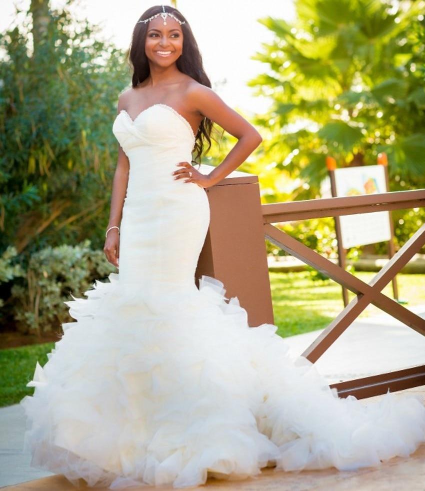 Nigeria African Wedding Gowns Mermaid Sweetheart Bridal Dress With ...