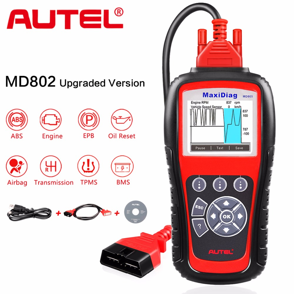 цена на Autel MD805 All System Code Reader OBD2 Diagnostic Tool Support Engine OLS/EPB/transmission/Airbag MD805 better than MD802