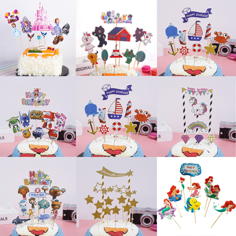 Mermaid Theme Happy Birthday Party Cake Topper Kids Favors Decorate Cupcake Toppers With Sticks Baby Shower Supplies 1set/pack