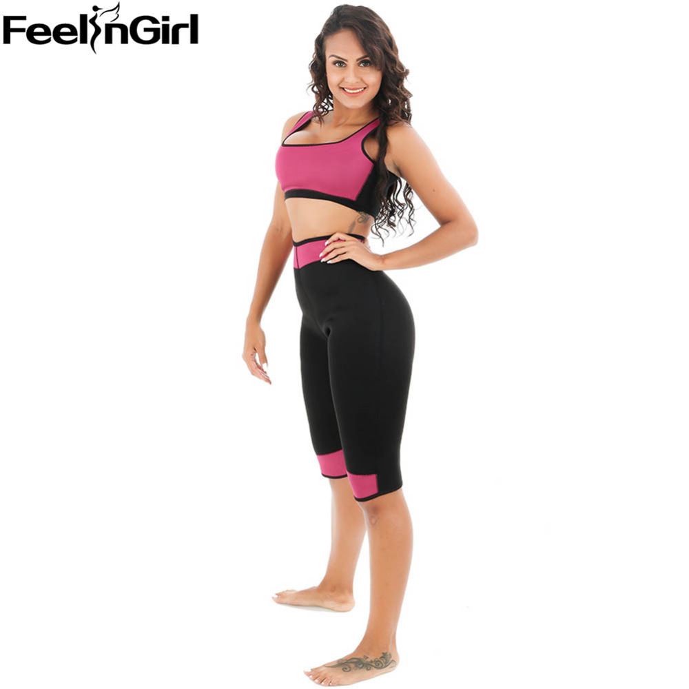 FeelinGirl Women Neoprene Shapewear Set Vest Super Stretch Waist Belt Pants Sweating Hot Shaper Slimming Fat Burn Weight Loss -C