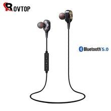 Rovtop Draadloze Bluetooth 5.0 Oortelefoon Hoofdtelefoon Dubbele Dynamische Hybrid Stereo Oordopjes Sport Nekband Oortelefoon Voor Telefoon
