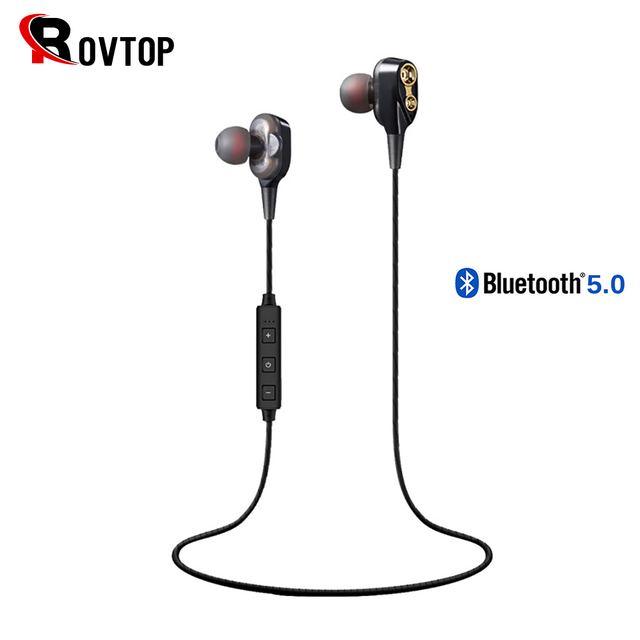 Rovtop Wireless Bluetooth 5.0 Earphone Headphones Double Dynamic Hybrid Stereo Earbuds Sport Neckband Earphone for Phone