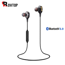 Rovtop auriculares inalámbricos con Bluetooth 5,0, dispositivo estéreo híbrido dinámico doble, banda para el cuello, para teléfono móvil
