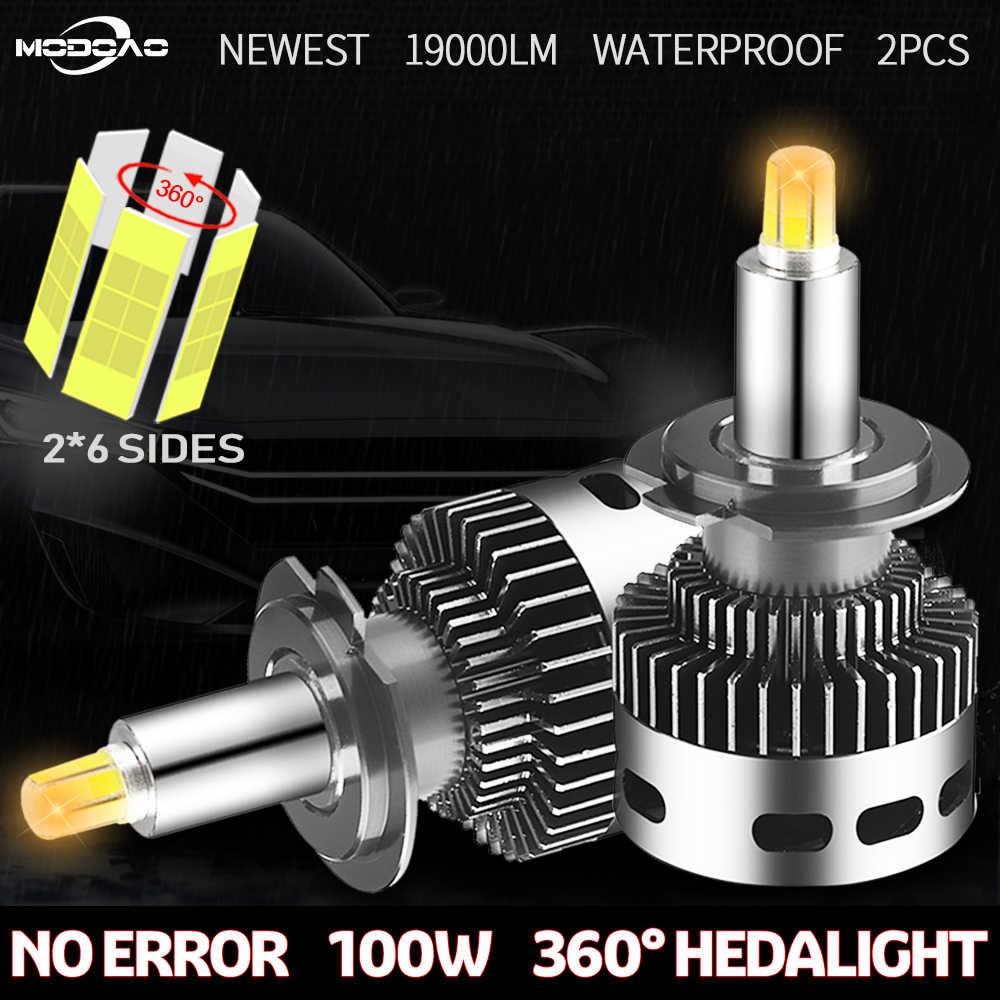 2Pcs 12 Sisi 19000LM CSP H11 H7 CANBUS Lampu Mobil H8 H1 HB3 9005 9006 3D 360 Degre Tidak Ada kesalahan Bohlam LED Otomotif Kabut Lampu 12V