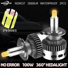 Farol de carro 2 peças, farol automotivo com 12 laterais 19000lm csp h11 h7 canbus h8 h1 hb3 9005 9006 3d 360 graças sem lâmpada led de erro 12v