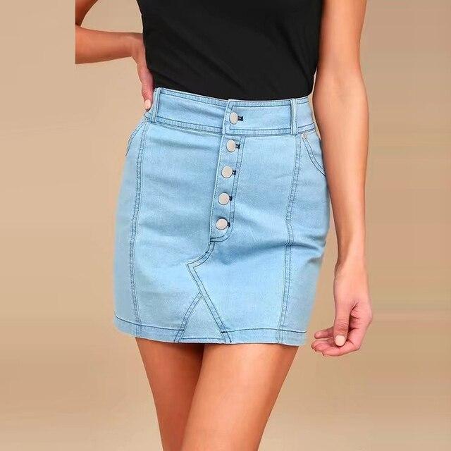 ce683273b385d4 Sexy Button Pencil Skirt Summer Fashion High Waist Denim Skirts for Women Mini  Skirts 2018 Bodycon Skirt Light Blue