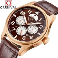 2016 Luxury Brand Carnival Automatic Mechanical Watches Men Waterproof Luminous Watch Calendar Leather Gold Wristwatch Relogio