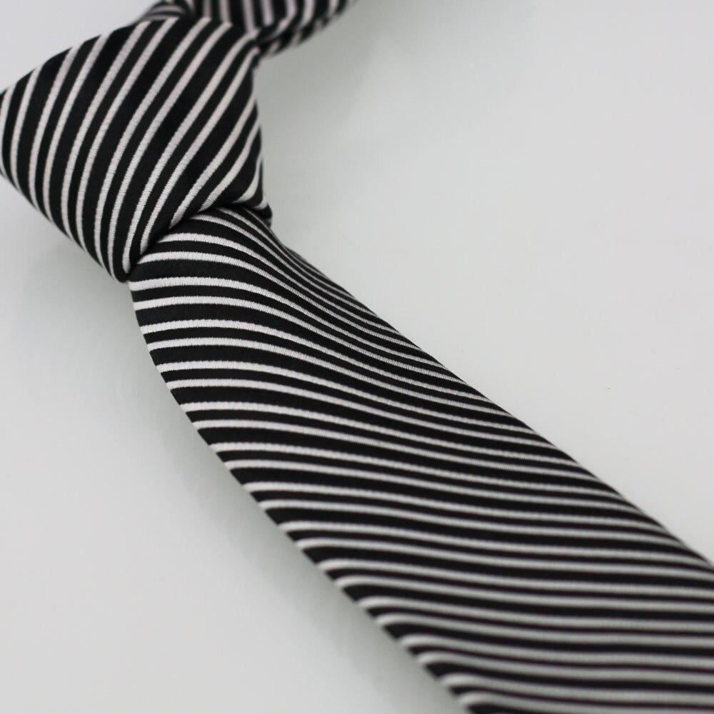 Yibei Coachella Галстуки черный, серебристый цвет Диагональ Полосатый Галстук Тощий Дизайнерские Галстуки для Для мужчин Moda жаккардовые ткани Gravatas masculinas