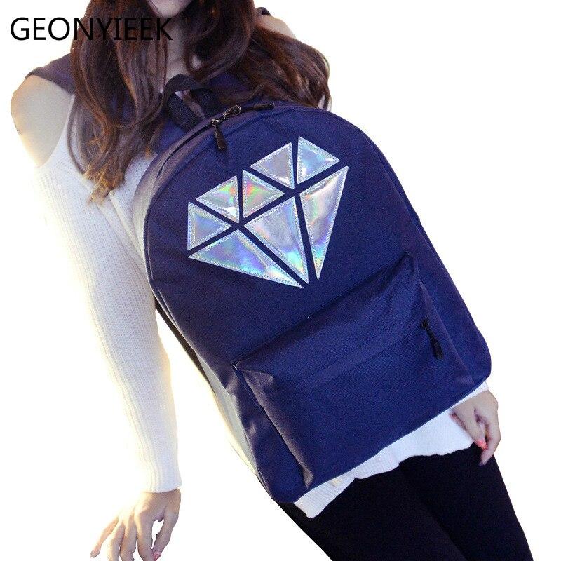 Fashion Casual Korean Vintage Canvas Women Backpack For Teenage Girls Diamond Anti Theft Loptop Backpack 2018 Luxury Designer