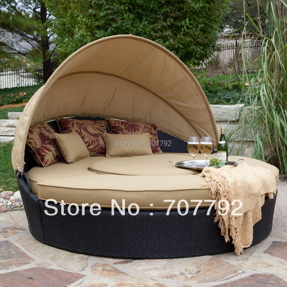 Round Rattan Outdoor Folding Sofa Bed
