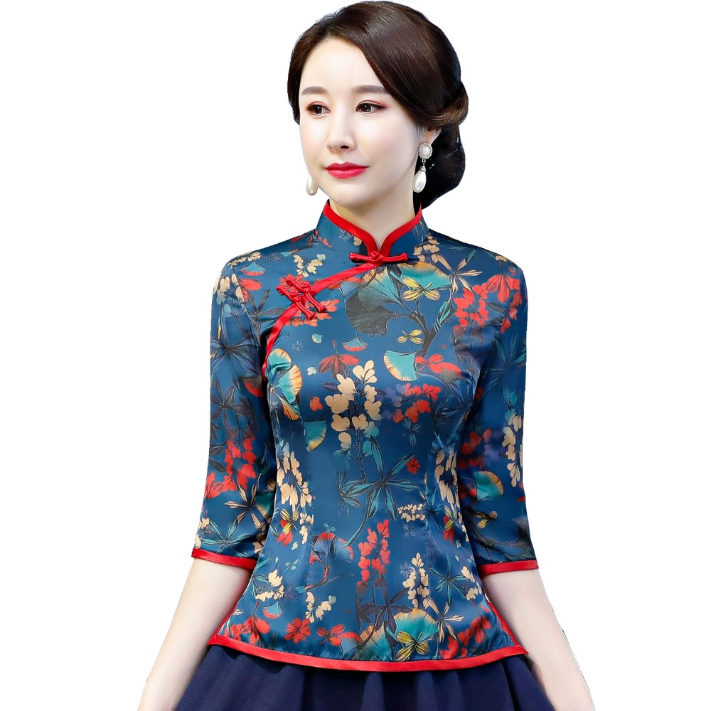 Shanghai Story Chinese Traditional Top Floral Cheongsam Tops Short Sleeve Chinese Top for Women Chinese Blouse