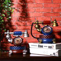 European style retro creative telephone stand clock living room TV cabinet bar Cafe decorative clock pendulum