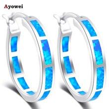 И розничная продукт круглые серьги синий огненный опал серебряные штампованные серьги-кольца модные ювелирные изделия OE428A
