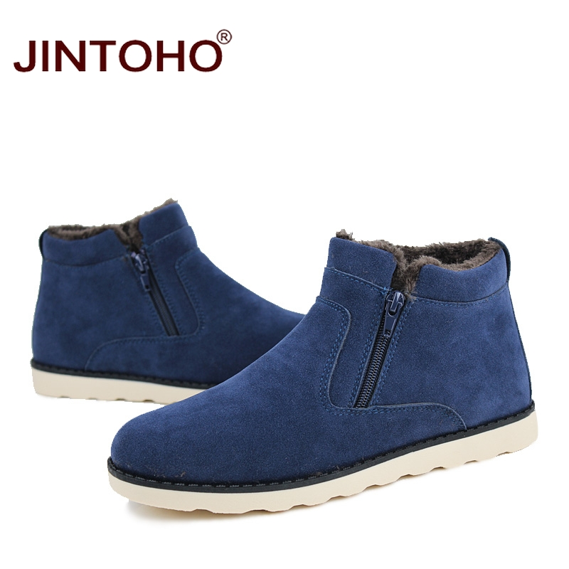 a3e915daaf JINTOHO Tamanho Grande Dos Homens Sapatos 2018 Top Nova Moda Inverno  Sapatos Casuais Tornozelo Botas de Pele Inverno Quente Calçados de Couro em  Botas de ...