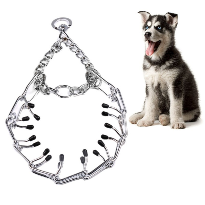 Dog Chain Collar Pet Iron Metal Adjustable Durable Silver Color Covered Choke Neck Leash Walking Behavior Training Tool Supplies
