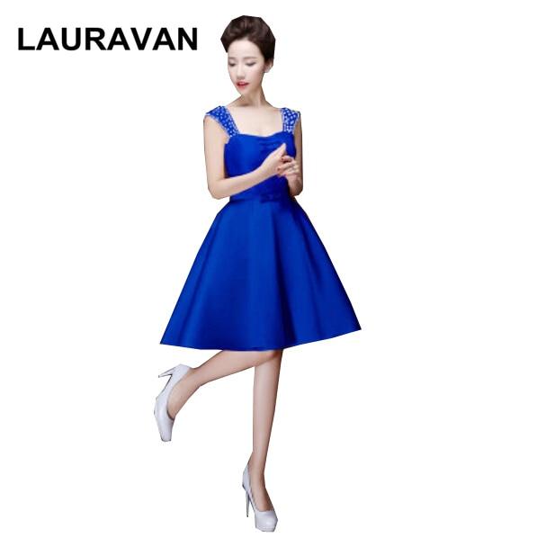 Real Sample Womens Dress Royal Blue Spaghetti Strap Bridesmaid Short
