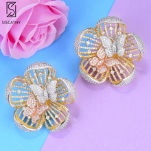 SISCATHY Trendy Women Flower Earrings 2019 New AAA CZ Three Tones Mixed Wedding Statement Jewelry Wife Gift