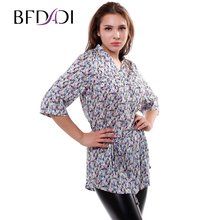 BFDADI 2016 Summer thin Cotton Long Blouse Floral design Half sleeve Women Casual Blouses Ladies Tops
