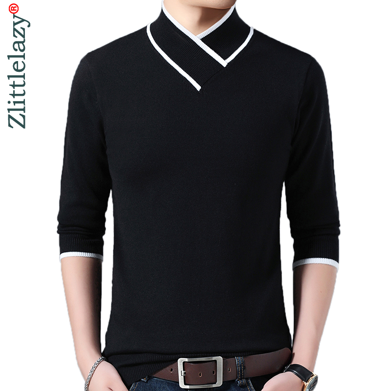 UUYUK Men Autumn Pullover Turtleneck Solid Knitted Sweaters