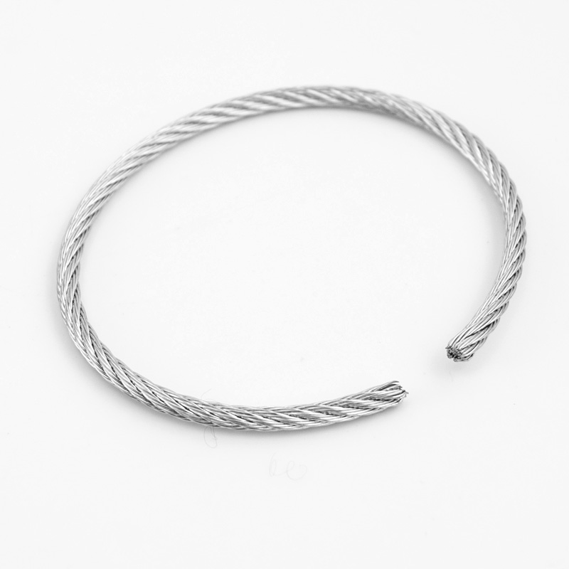 Semi Finished Product Diy 3mm 0 11 Steel Wire Rope Bangle Twist Stainless Cable Bracelet Cuff Pulseiras In Bangles From Jewelry