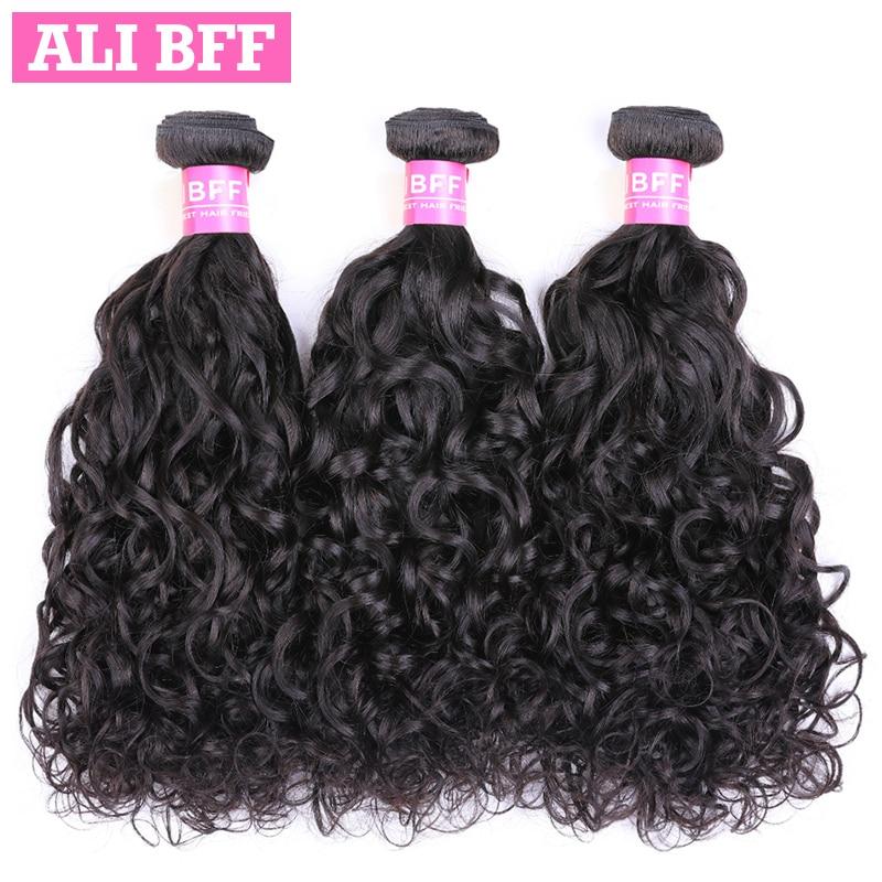 ALI BFF Water Wave Brazilian Hair Weave Bundles 3 Bundles Human Hair Remy Hair Extension Natural Color Free Shipping