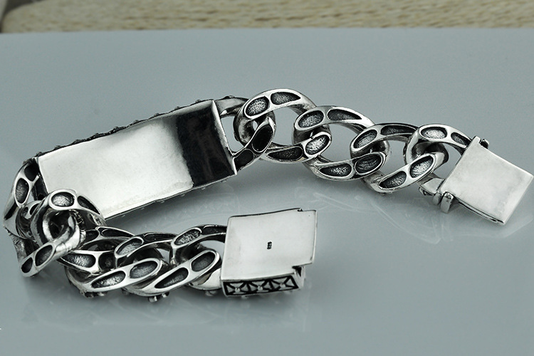 Heavy Thai Silver Men Bracelets 925 Sterling Silver Skeleton Skull Bracelets for Men Punk Vintage Skull Chain Bracelets Jewelry