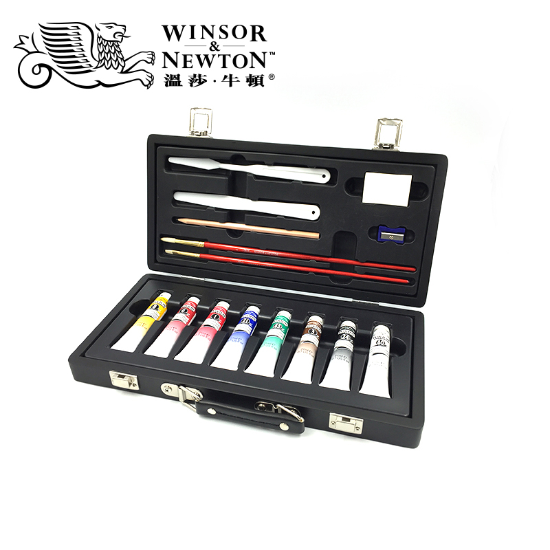 Free shipping Windsor Newton Oil painting pigment suit wooden box suit and paper box suit professional painter select made from powder and glycerine pigment suit children student use beginner fine arts painting toolbox canning color 100ml