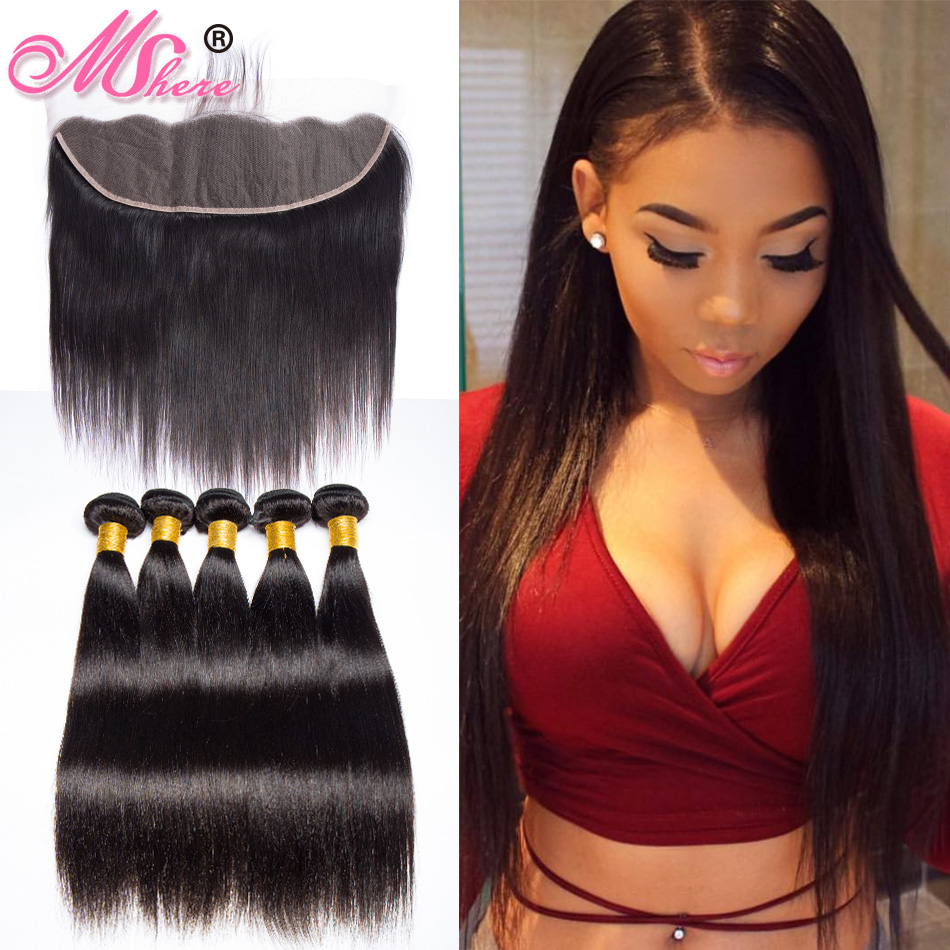 Peruvian Straight Hair 13x4 Lace Frontal Closure With Bundles Human Hair 3 Bundles MSHERE Closure With Baby Hair Non Remy 4pc-in 3/4 Bundles with Closure from Hair Extensions & Wigs    1